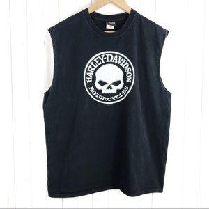 Harley Davidson Black Skull Tank Top Size XL